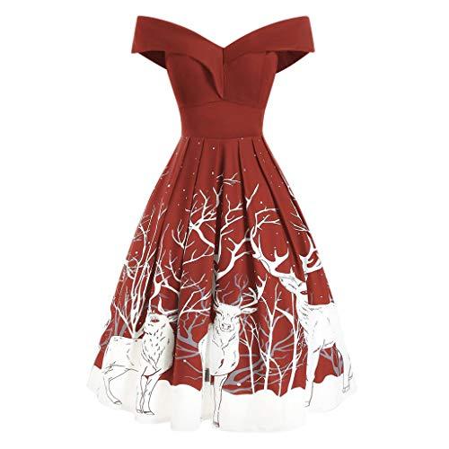 Routinfly - Vestido de Navidad para mujer, diseño vintage