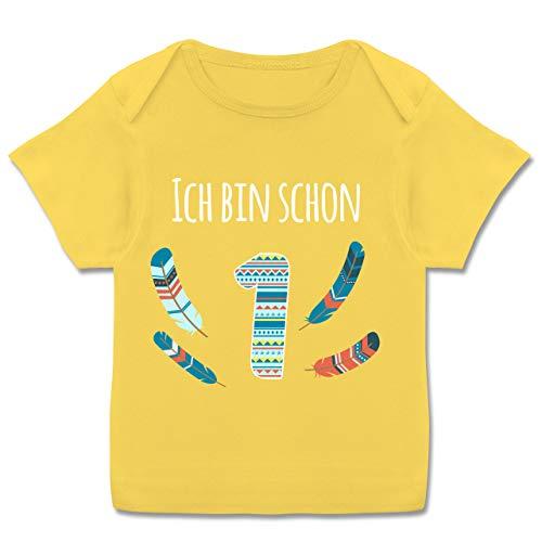 Geburtstag Baby - Ich Bin Schon 1 Indianer - 80-86 (18 Monate) - Gelb - 1. Geburtstag mädchen - E110B - Kurzarm Baby-Shirt für Jungen und Mädchen
