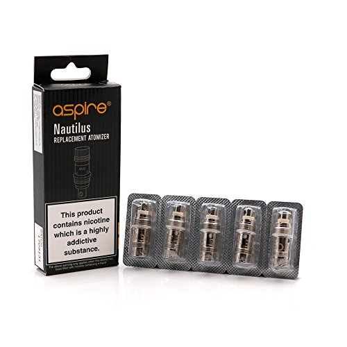 Authentische Aspire Nautilus BVC Coils, 1 Pack of 5 Ersatz Coil Verdampferköpfe, 5pcs Aspire Nautilus Mini Bottom Vertikal Coil,Kein Nikotin (1.8 ohm)