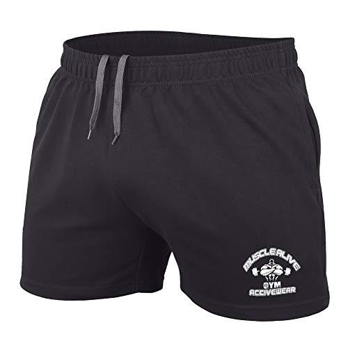 Muscle Alive Hombres Culturismo Gimnasio Rutina de Ejercicio Pantalones Cortos Terry Algodón