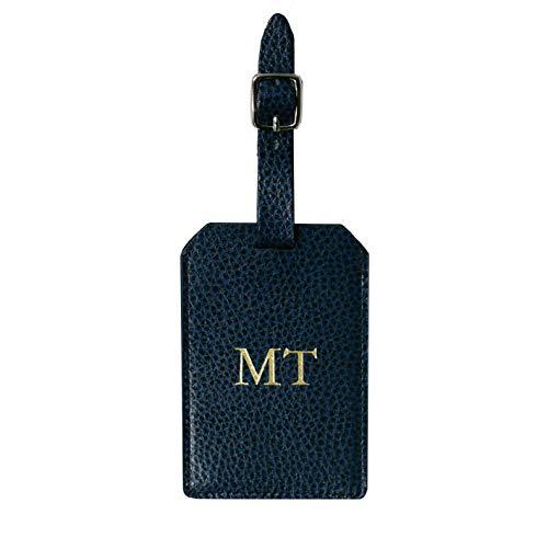 Kofferanhänger mit Initialen aus Leder mit Adressschild und individueller Prägung Personalisiert, einzeln, Travel, Zum Beschriften mit Adresse (Marine)