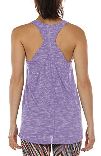 icyzone Damen Yoga Fitness Tank Top Lang - Training Jogging Ärmelloses Shirt Sport Oberteil Tops (L, Lavender)