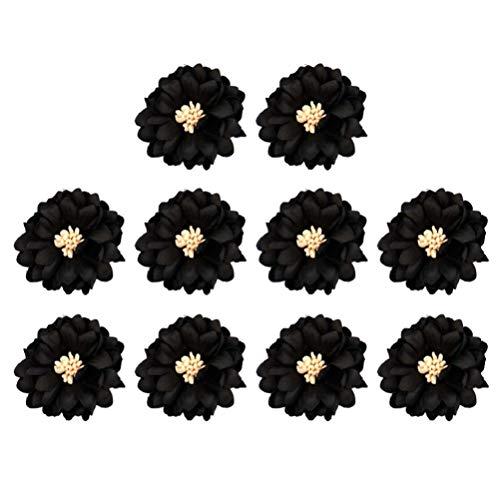 Milisten 20 Stück Blumenapplikationen Patches Gestickte Patches Dekorative Nähapplikationen für Kleiderjacken Rucksack Reparatur Dekorationen (Schwarz)