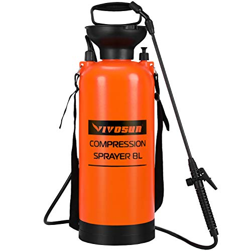 VIVOSUN 2.0 Gallon Lawn and Garden Pump Pressure Sprayer with Pressure Relief Valve, Adjustable Shoulder Strap