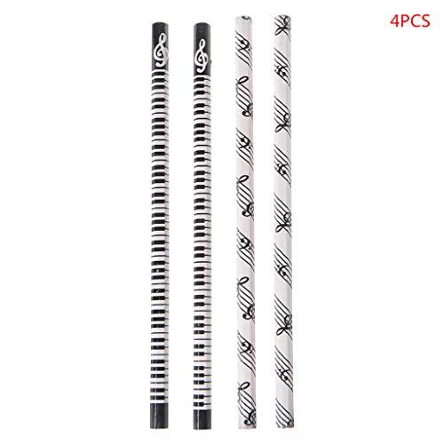 FKY grafietstiften in houten manchet, HB-standaard potlood, piano muzieknoot, schoolagengeschenk, 4st