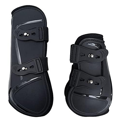 Botas de PU para caballos, bota de pata de caballo ajustable para llevar con amortiguación interna suave para mantener calientes Botas de caballo para juntar (pata delantera y pata trasera M)