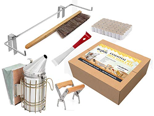 Bee Hive Supplies Starter Kit - 6 pcs Beekeeping Supplies - Essential Beekeeper Tools Kit - Bee Smoker, Smoker Pellets, Bee Brush, BeeHive Box Frame Holder, Frame Grip, Standard Tool - Bee Supplies -