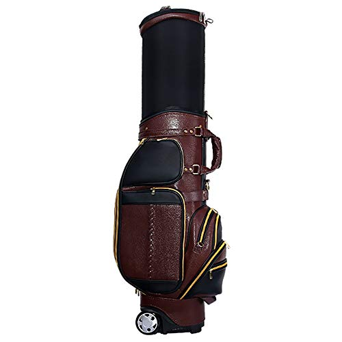 Tragetasche Geniune Leder Golf Standard-Stand Bag Golfclub Cartbags Retractable Verschleißfest Golf Travel Case oder Männer Frauen (Color : Brown, Size : 39x30x125cm)