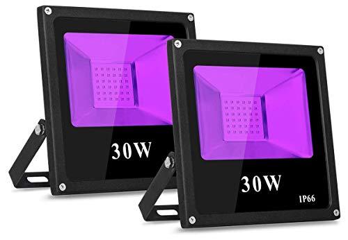 TOPLANET 30W Foco Led luz Negra Blacklights 2 Paquete Impermeable IP66 para Fiesta Partido Disco DJ Fluorescencia KTV Pub Luz Decoracion