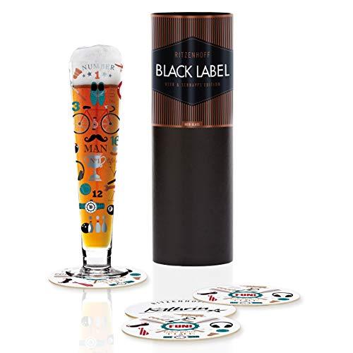 RITZENHOFF Black Label Bierglas von Kathrin Stockebrand, aus Kristallglas, 300 ml, mit fünf Bierdeckeln
