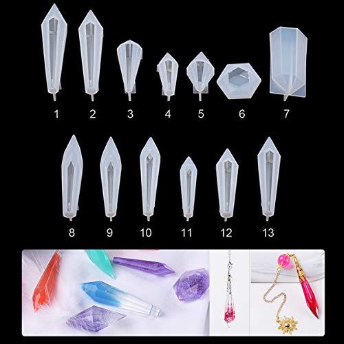 iSuperb 13 Piezas Molde Resina Silicona para Manualidades Cristal Epoxi Transparente Epoxy Resin Molds Creativo Bricolaje la Joyería Collar Pendiente Pulseras (13pcs moldes)