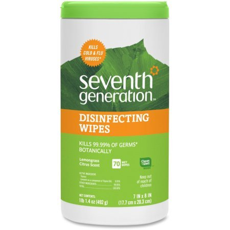 Seventh Generation Lemongrass Citrus Scent Disinfecting Wipes 70 ct Canister