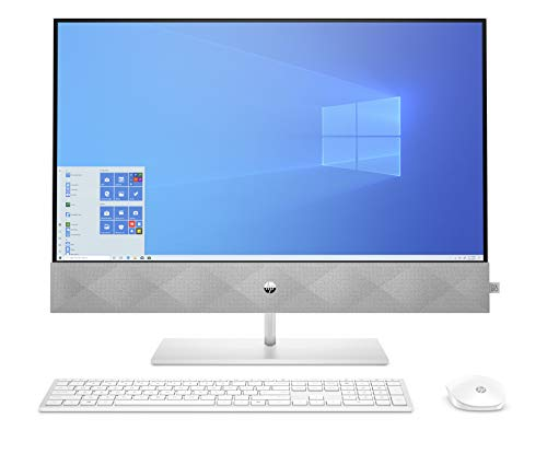 "HP - PC Pavilion 27-d0001nl All-In-One, Intel Core i5-10400T, RAM 8 GB, SSD 512 GB, Grafica Intel UHD 630, Windows 10 Home, Schermo 27"" FHD IPS, Audio Bang & Olufsen, Webcam, USB-C HDMI, RJ-45, Bianco"