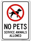 """No Animals Allowed Except Service Animals Sign, 10"""" x 14"""" Industrial Grade Aluminum, Easy Mounting, Rust-Free/Fade Resistance, Indoor/Outdoor, USA Made by MY SIGN CENTER"""