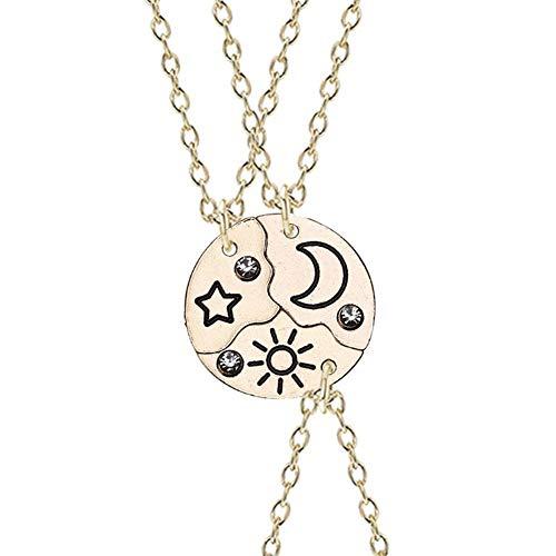 3 piezas de collares para mejores amigos con grabado de estrella, luna y sol, cadena colgante de diamantes de imitación para 3 niñas, niños, oro, plata, joyería, mujeres, hermanas, regalos de
