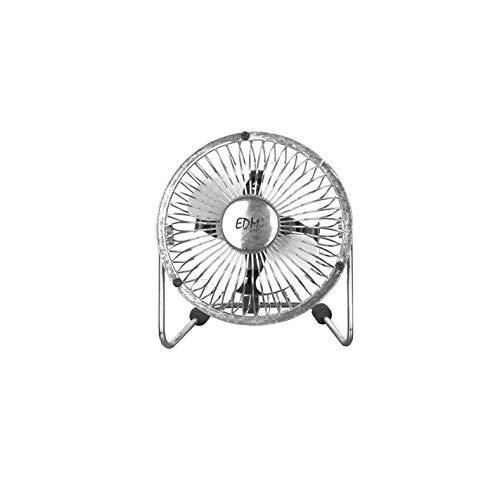 EDM 33930 Mini Ventilador Industrial de Sobremesa Cromado 15W, Cromado, 10 cm