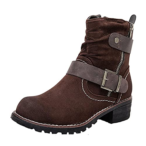 Women's Round Toe Block Chunky High Heel Ankle Shoes Slip on Platform Footwear Buckle Strap Side Zipper Up Boots Brown