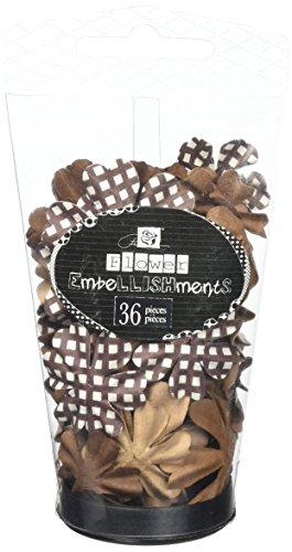 Prima Marketing Petal Palette Handmade Paper Flowers-Brown 36/Pkg