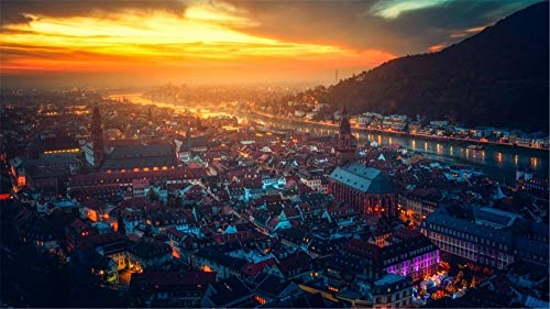 Malen Nach Zahlen Stadt Heidelberg Deutschland DIY Unique Gift Handpainted Oil Painting for Home Wall Decor Artworks Frameless