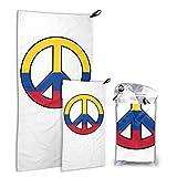 Hdadwy Bandera de Colombia Peace Set Personalizado Toalla de Viaje de Microfibra Resistente a la decoloración Toalla de Cara 15.7 'X 31.5