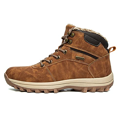 Botas De Nieve Hombre Antideslizante Invierno Botines Calientes Piel Interior Cálida Zapatos Planos,Marrón,44 EU