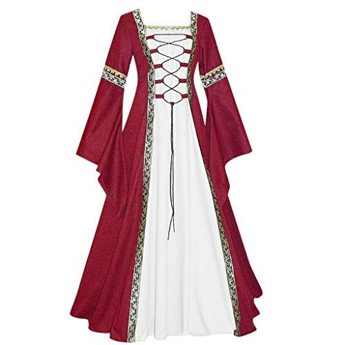 Lazzboy Mittelalterlich Bodenlangen Renaissance Gothic Cosplay Kleid Für Damen Langarm Mittelalter Viktorianischen Königin Kostüm Maxikleid Vintage Bauer Spitze Maxi(Wein,XL)