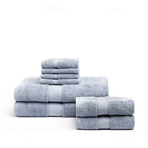 Toalla algodón egipcio 600 gsm 8 Piezas color Azul Bruma EN OCASIÓN