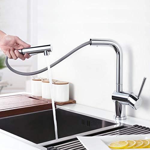 Desfau Mischbatterie Küchenarmatur Hochdruckarmatur Ausziehbar Wasserhahn Armatur Küche mit Brause Spültischarmatur Einhandhebelmischer Wasserkran für Küche