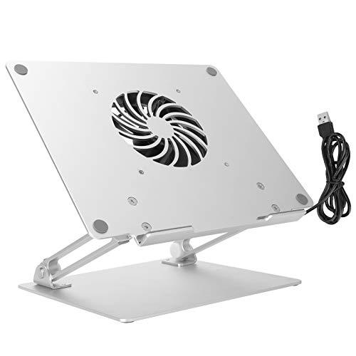 Soporte para ordenador portátil, portátil, aleación de aluminio, soporte para ordenador portátil, ángulo ajustable, altura ajustable, con ventilador de refrigeración y soporte de 5 kg oficina en casa