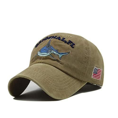 XibeiTrade Gorra de béisbol con diseño de tiburón bordado estilo polo de algodón lavado para hombres y mujeres - beige - Medium