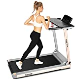 FUNMILY Folding Treadmill, 2.25HP Portable Treadmill with Table Holder & Bluetooth Speaker, Multifunctional Running Machine for Office Home Gym, Zero Installation (Silver)