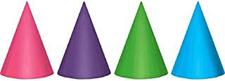 Charming Purple and Teal Birthday Party Foil Cone Hats , Pack of 12, Multi , 7
