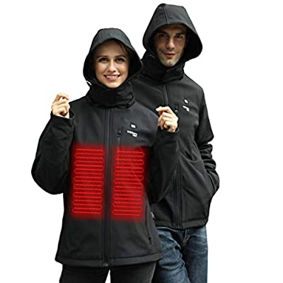 Lataw Winter Women Coats USB Electric Abdominal Back Waterproof and Windproof Heated Warm Hooded Coat Jacket Temp Control Overcoat