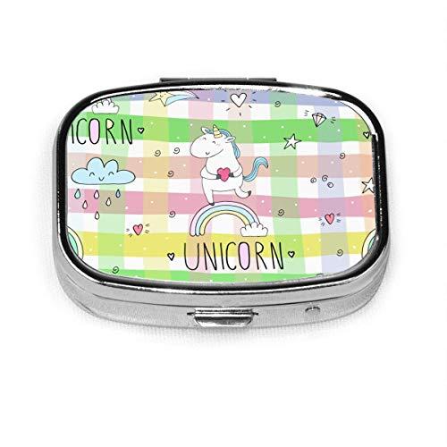 Cute Unicorn Funny Sun Fashion Pill Box Vitamin Tablet Holder Wallet Organizer Case