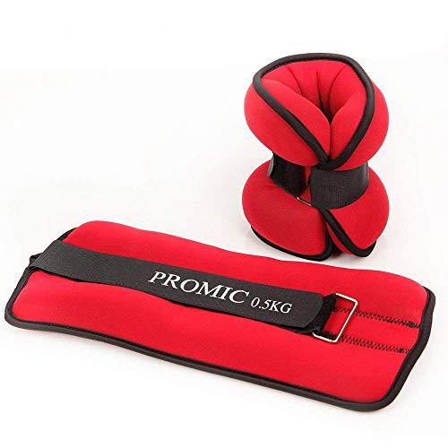 PROMIC Gewichtsmanschetten für Hand- und Fußgelenke, Rot/Grau/Schwarz, Neoprene/Polyester, 2er Set, 2x0,5kg - 2X 2kg (2X 0,5kg, Rot Neoprene)