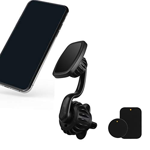 Accevo Magnetic Car Phone Holder [Upgrade Clip] Magnetic Phone Car Mount with 6 Strong NdFeB Magnets [Not Obstructing Sight] 360° Rotation Phone Magnet, Fit for All Smartphones and Tablet, GPS