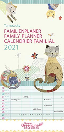GreenLine Turnowsky 2021 Familienplaner -Wandkalender - Familien-Kalender - 22x45