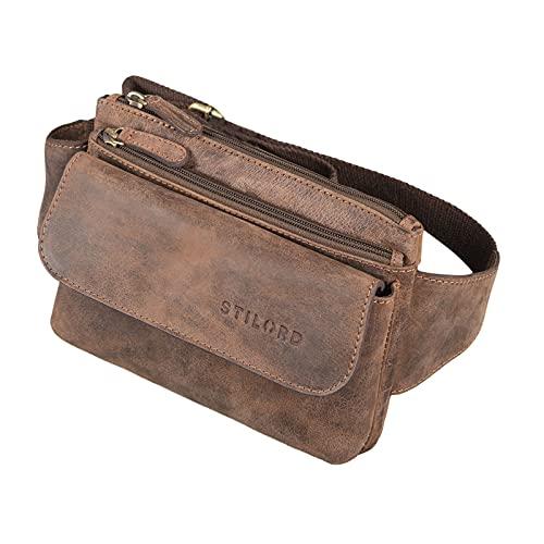 STILORD 'Atlanta' Vintage Bauchtasche Echtleder für Herren Damen Gürteltasche groß zum Umhängen als Brusttasche Cross-Body Bag Hüfttasche Leder, Farbe:Veleta - braun