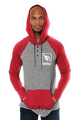 Ultra Game Men's NFL Fleece Hoodie Pullover Sweatshirt Henley, Arizona Cardinals, Red, X-Large