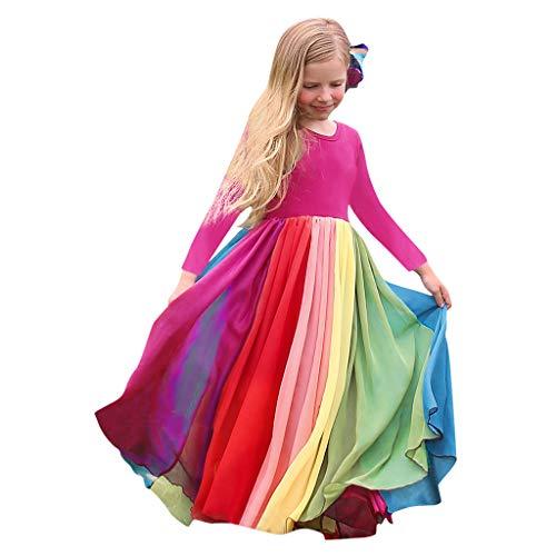Prinzessin Kleid Kinder Mädchen Abendkleider Regenbogen Splice Partykleid Pageant Gown Birthday Ballkleider Party Kleider Brautjungfernkleid, Pink, 4-5 Jahre
