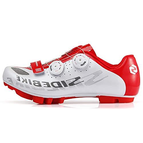 Zapatillas De Ciclismo para Hombre, Zapatillas De Ciclismo De Montaña Ligeras Profesiones Hebilla Giratoria Transpirable Zapatillas De Ciclismo para Exteriores,Red,46