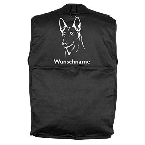 Tierisch-tolle Geschenke Belgischer Schäferhund Malinois - Hundesportweste mit Rückentasche und Namen (L)