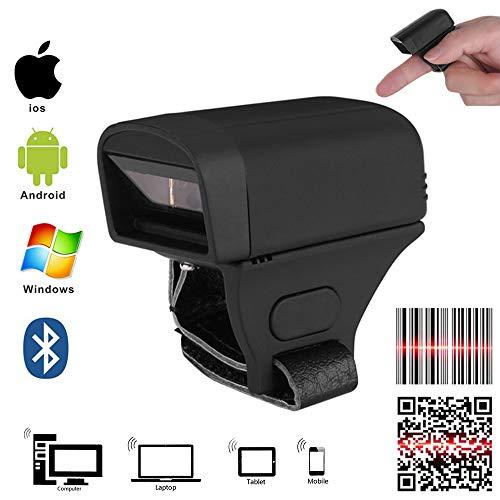 Ejoyduty Bluetooth QR CCD 1D & 2D draagbare ring-barcode-scanner, draagbare QR-barcodelezer, met 2.4G USB-ontvanger, geschikt voor Logistics Warehouse Windows iOS en Android