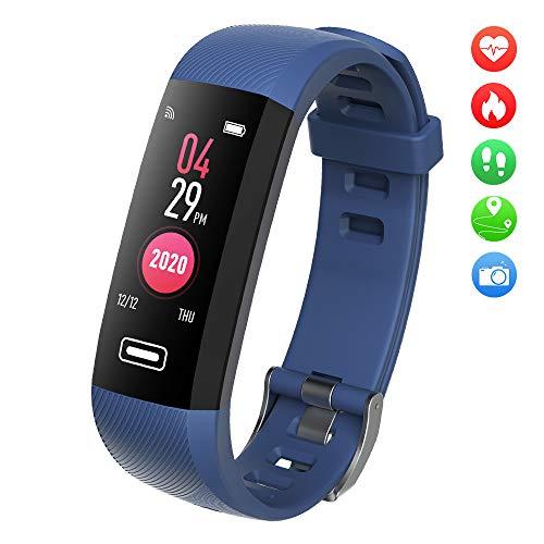 TEZER Fitness Tracker Kinderuhr Damen Smartwatch Fitness Armband mit Schrittzähler Pulsmesser Schlafanalyse Kalorienzähler Wasserdicht IP67 Sportuhr Fitness Uhr für Huawei IOS Android (Blau-2)