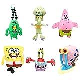 Pzpgeq 6 Piezas de Juguetes de Peluche/Juego de Juguetes de Peluche de Esponja para niños Personajes de Dibujos Animados Regalos de cumpleaños de Navidad Juguetes de Peluche