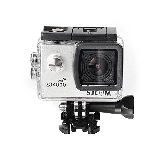 16GB TF Karte + Original SJCAM SJ4000 Wifi Action Kamera, HD 1080P WIFI Wasserdichte Sport Action Kamera H.264 12MP 170 Grad Weitwinkelobjektiv DV zum Tauchen Radfahren(Sliver)