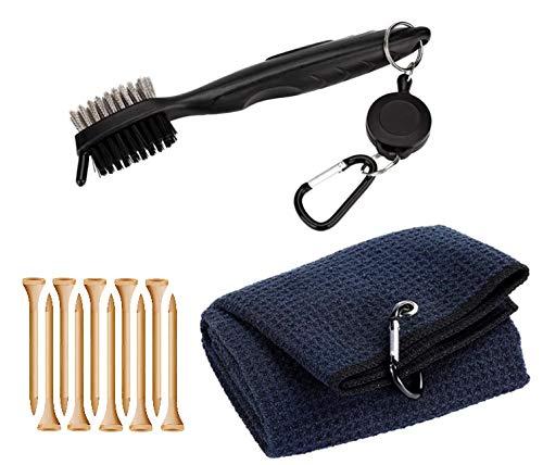 PRO-ALIGN - Kit di pennelli e asciugamani per mazze da golf con clip per appendere alla borsa da golf, strumento per la pulizia della scanalatura da golf, set regalo di Natale