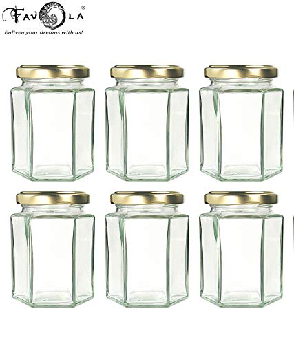 Favola Essentials Hexagonal Lug Glass Jar, Gold Lid, 250 ml, Set of 6, Clear