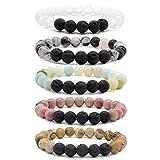Bivei Mother's Day Gift Lava Rock Stone Essential Oil Diffuser Bracelet - Natural Semi Precious...