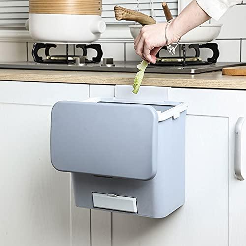 VNUWFM Cubo De Cocina, Bote De Basura Colgante con Tapa Botes De Basura Portátiles Montados En La Pared para Sala De Estar Y Baño, 10L,Gris